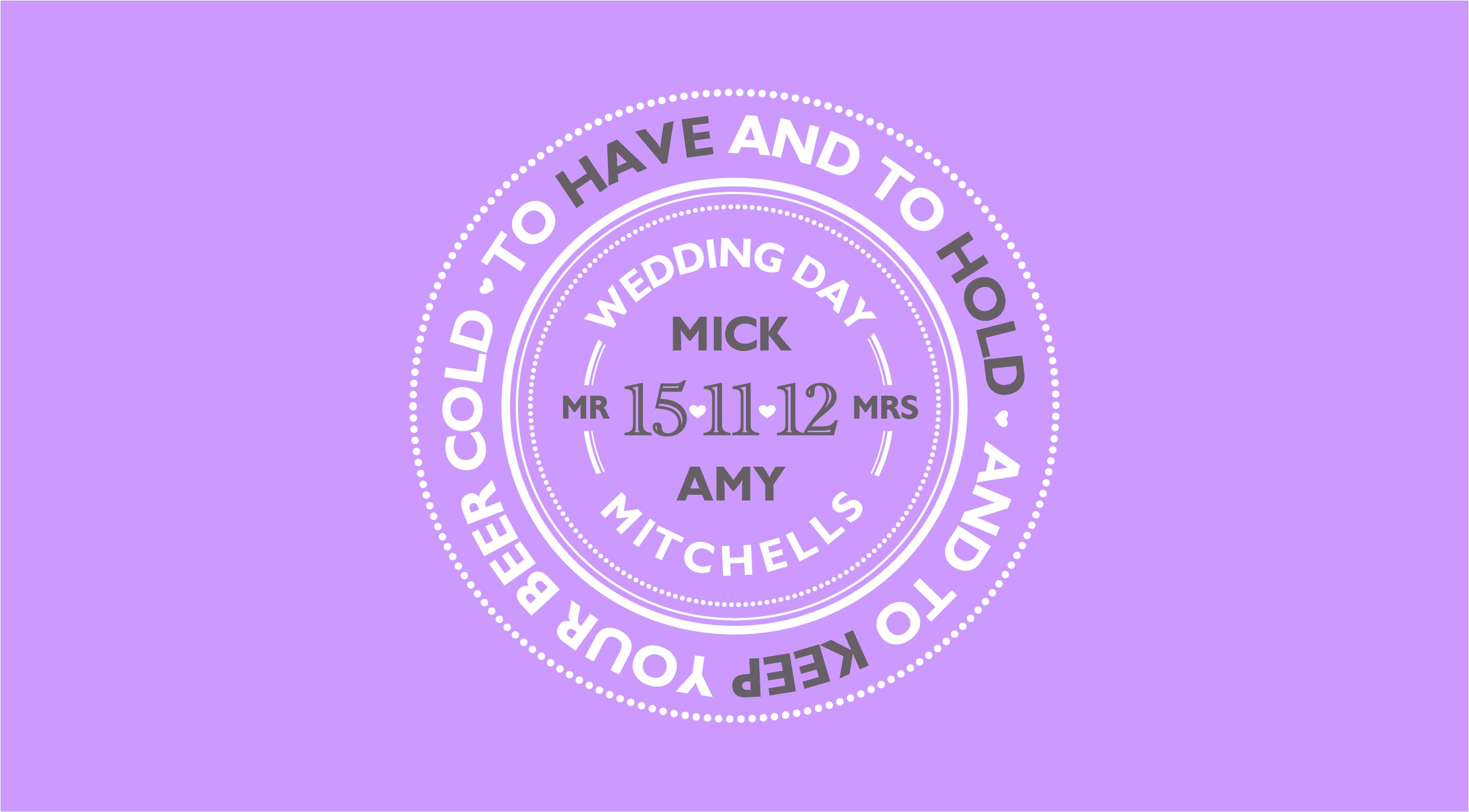 Mr and Mrs Wedding Day Customised Stubby Cooler